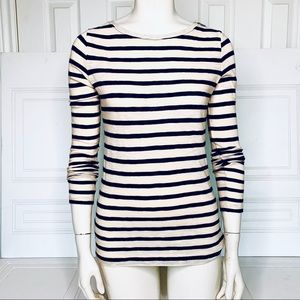 LOFT off white  and blue stripes top
